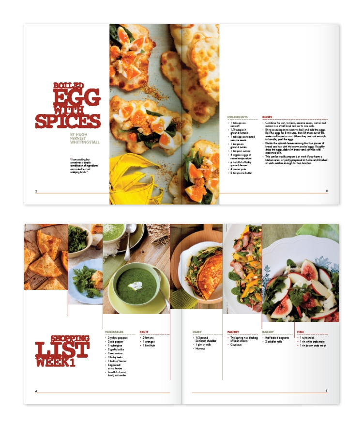 Two double-page spreads for The Modern Cook Book